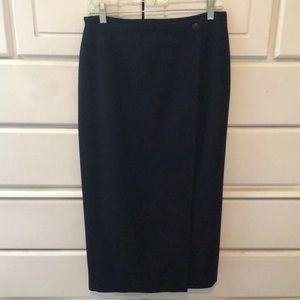 Lauren Alexander Navy  Wool Midi Lined Wrap Skirt